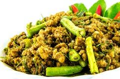 Kryddigt griskött, thailändsk mat arkivbild