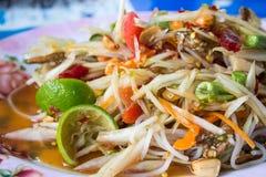 Kryddigt läckert för grön kokkonst för papayasallad thai Fotografering för Bildbyråer