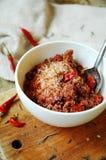 Kryddigt salta med torkad tomater och chili Fotografering för Bildbyråer