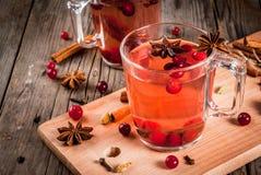 Kryddigt te med tranbäret royaltyfri foto
