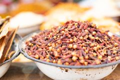 Kryddnejlika på indisk kryddig marknad med trevlig oskarp bakgrund arkivbilder