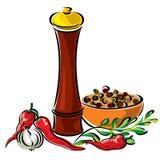 kryddor stock illustrationer