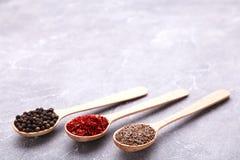 Kryddor blandar på träskedar på en grå bakgrund Top beskådar arkivbild