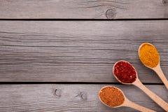 Kryddor blandar på träskedar på en grå träbakgrund Top beskådar arkivfoton