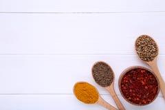 Kryddor blandar på träskedar på en vit träbakgrund Top beskådar arkivbilder