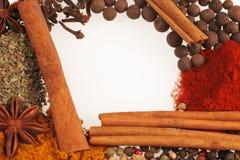 kryddor för glass platta Arkivfoton
