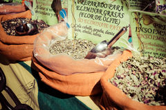 Kryddor, frö och te sålde i en traditionell marknad i Granada, S Arkivbild