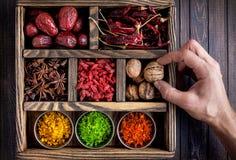 Kryddor i asken Arkivfoton
