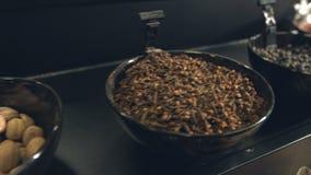 Kryddor i bunkar stock video