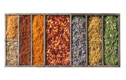 Kryddor i den isolerade träasken arkivfoto