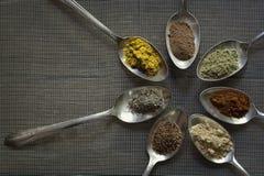 Kryddor i gamla silverskedar Arkivfoto