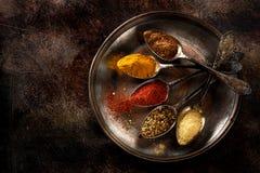 Kryddor i gamla skedar Arkivfoton