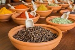 Kryddor i keramiska bunkar Royaltyfri Fotografi