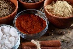Kryddor i keramiska och glass bunkar på överkanten av trätrumman, närbild, selektiv fokus Arkivbilder