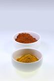 Kryddor i koppar på en vit bakgrund arkivbilder