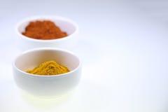 Kryddor i koppar på en vit bakgrund arkivfoto