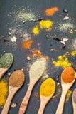 Kryddor i skedar arkivfoto
