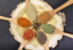 Kryddor i skedar royaltyfria foton