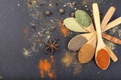 Kryddor i skedar royaltyfria bilder