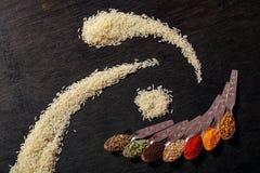 Kryddor i skedar på svart bakgrund arkivfoton