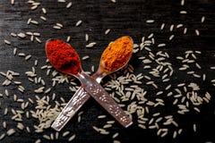 Kryddor i skedar på svart bakgrund royaltyfri bild