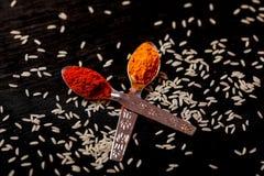 Kryddor i skedar på svart bakgrund royaltyfri fotografi