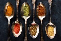 Kryddor i skedbakgrund arkivbilder
