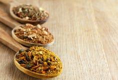 Kryddor i träskedar royaltyfria foton