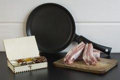 Kryddor, kött och panna Fotografering för Bildbyråer