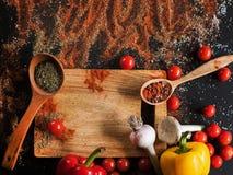 kryddor Kulinariskt kokkonst, receptbakgrund royaltyfria bilder
