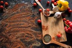 kryddor Kulinariskt kokkonst, receptbakgrund arkivfoto