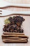 Kryddor med redskapet på wood bakgrund Arkivbilder