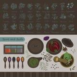 Kryddor och örter av världen Royaltyfria Bilder