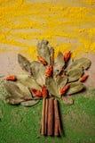 Kryddor och örter blandar i form av ett träd på en träbakgrund ovanför sikt Lekmanna- lägenhet kopiera avstånd arkivbild