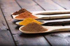 Kryddor och örter i wood skedar över träbakgrund Arkivfoto