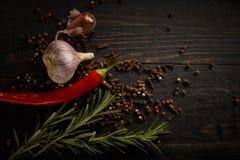 Kryddor och örter på den svarta wood bakgrunden royaltyfri foto