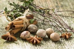 Kryddor och örter på gammal wood bakgrund Royaltyfri Foto