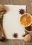 Kryddor och papper Fotografering för Bildbyråer