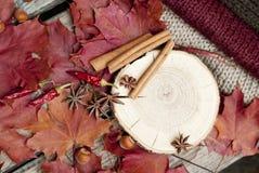 Kryddor och sidor på trätabellen Arkivfoton