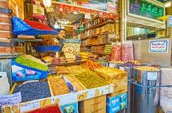 Kryddor och torkar frukter i Teheran Royaltyfria Bilder