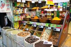 Kryddor och torkat - frukt, Bazar Vakil, Shiraz, Iran arkivfoton