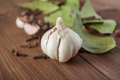 Kryddor och vitlök på en trätabell Royaltyfri Foto