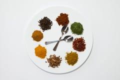 Kryddor på en platta Royaltyfri Bild