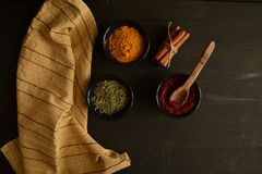 Kryddor på köket Arkivfoton