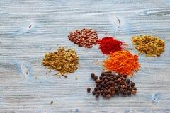 Kryddor på lantlig wood textur på 45 grad Fotografering för Bildbyråer