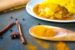 Kryddor på sleven som gör fega Biryani Royaltyfri Bild