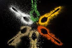 Kryddor på svart bakgrund Royaltyfri Fotografi