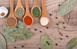 Kryddor på trä bordlägger matförberedelsemat Royaltyfria Foton