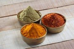 Kryddor pudrar i metallbunke Arkivfoton