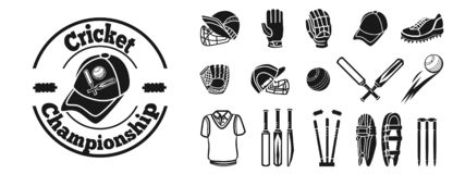 Krykiet ikony set, prosty styl ilustracji